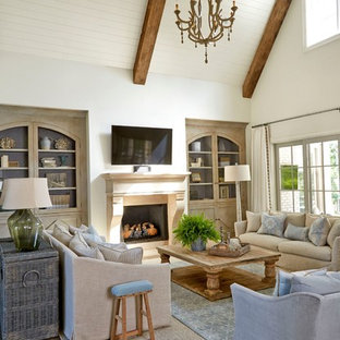 Photo Of A Medium Sized Country Open Plan Living Room In Atlanta With Reading Nook Save Manor By Lisa Gabrielson Design