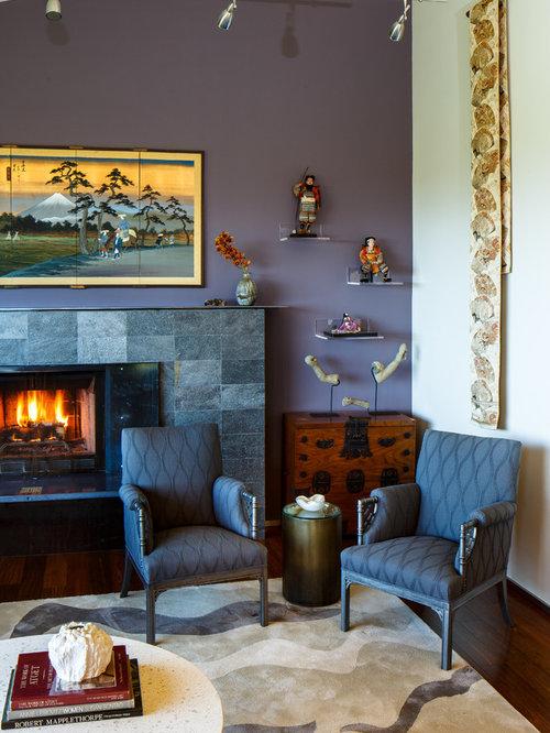 Soggiorno etnico con pareti viola - Foto e Idee per Arredare
