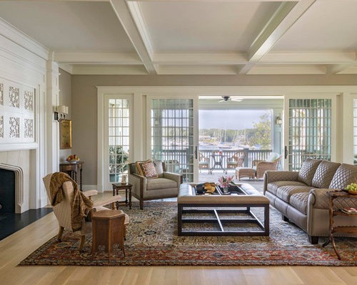 Inspiration For A Large Beach Style Open Concept Light Wood Floor And Brown  Floor Living Room
