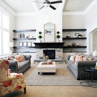 Living room - mid-sized traditional living room idea in Salt Lake City