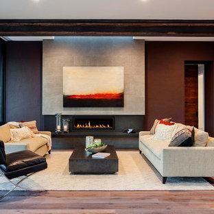 Idee per un soggiorno design di medie dimensioni e aperto con parquet chiaro, camino lineare Ribbon, cornice del camino in pietra, sala formale e nessuna TV