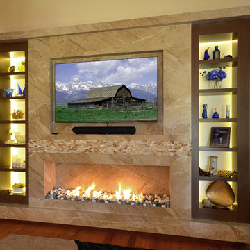 Marble Fireplace/TV wall with Wenge custom frosted glass back lit shelves