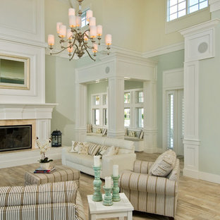 Living Room Large Traditional Open Concept Light Wood Floor Idea In Miami With