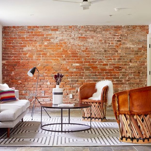Inspiration For A Contemporary Slate Floor And Gray Floor Living Room  Remodel In New Orleans With