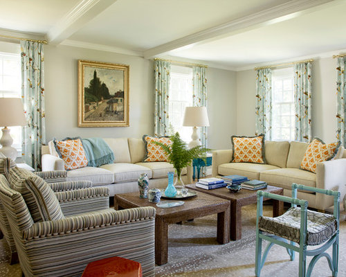Example Of A Coastal Living Room Design In Boston With Gray Walls