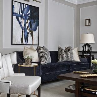 На фото: парадная гостиная комната в современном стиле с серыми стенами и ковровым покрытием с