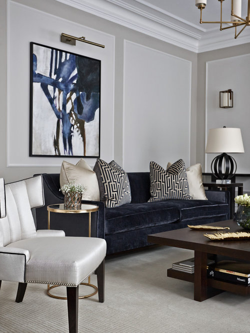 Living Room   Contemporary Formal Carpeted Living Room Idea In London With  Gray Walls