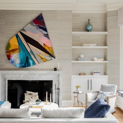 Living room - mid-sized contemporary formal medium tone wood floor living room idea in Boston with gray walls, a standard fireplace and a stone fireplace
