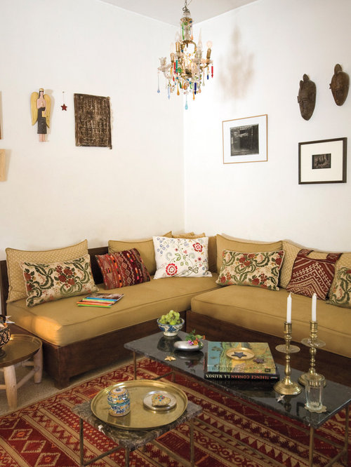 Example Of A Tuscan Living Room Design In New York With White Walls Part 78