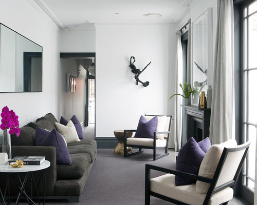 Inspiration For A Transitional Formal Living Room In Sydney With White Walls Carpet And