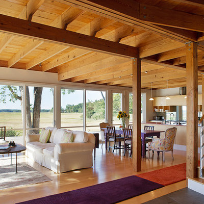Living room - country open concept living room idea in Boston