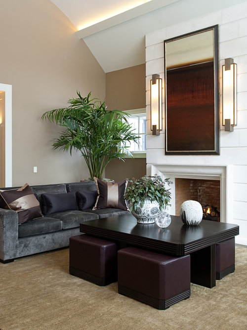 Ottoman under coffee table houzz - Living room center table decoration ideas ...