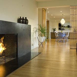 Imagen de salón moderno con paredes beige, chimenea tradicional y marco de chimenea de metal
