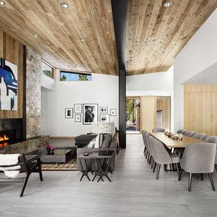 Esempio di un soggiorno contemporaneo aperto con pareti grigie, pavimento in gres porcellanato, camino lineare Ribbon e cornice del camino in metallo