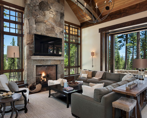 Large Mountain Style Open Concept Dark Wood Floor And Brown Floor Living  Room Photo In Sacramento