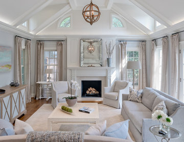 Maryland: Pleasing Greige Family Room and Kitchen