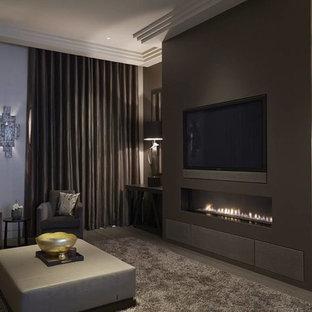 Immagine di un soggiorno contemporaneo di medie dimensioni e chiuso con sala formale, camino lineare Ribbon e parete attrezzata