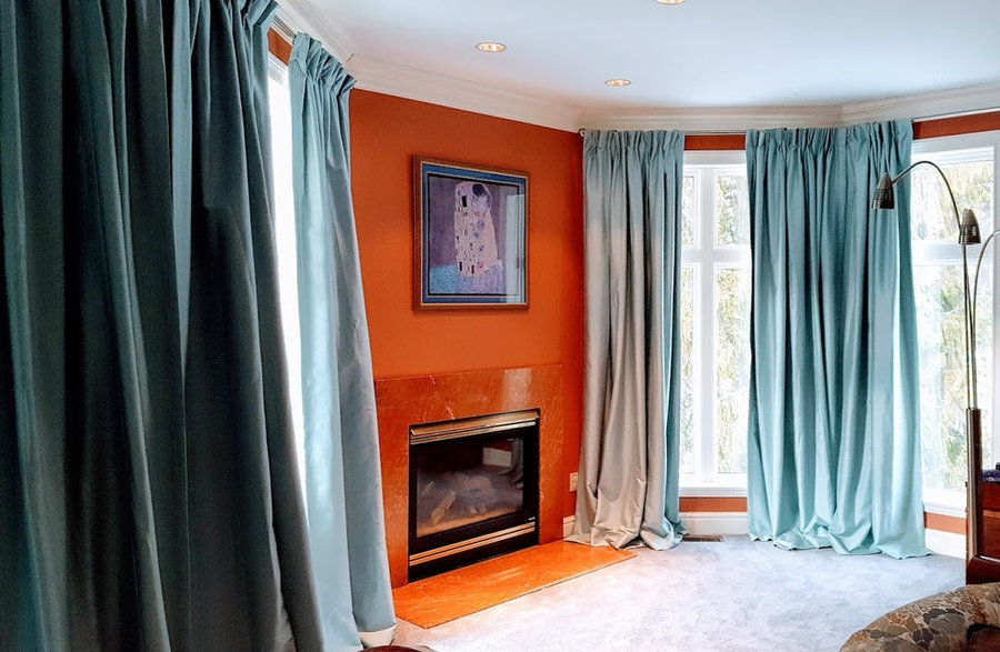 Master Bedroom Blue silk drapes with blackout lining