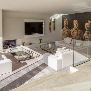 Lounge space with tibetan feature wall