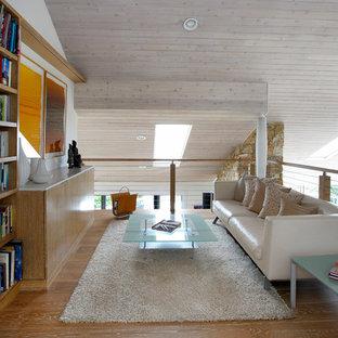 Foto di un soggiorno minimal di medie dimensioni e stile loft con libreria, pareti bianche, parquet chiaro e nessuna TV
