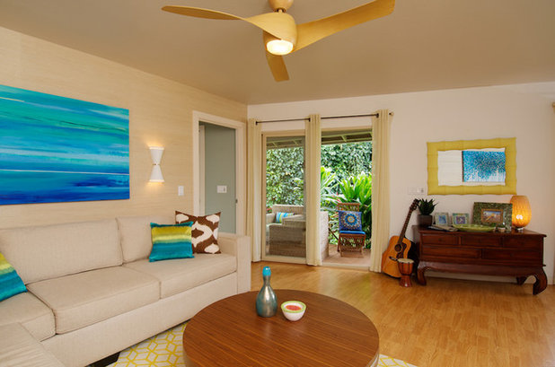 Tropical Living Room by Natalie Younger Interior Design, Allied ASID - Are Ceiling Fans The Kiss Of Death For Design?