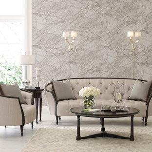 Esempio di un grande soggiorno tradizionale aperto con sala formale, pareti grigie e pavimento in marmo