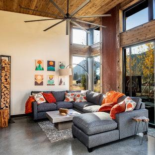 Immagine di un piccolo soggiorno industriale aperto con pareti bianche, pavimento in cemento, stufa a legna, pavimento grigio e cornice del camino in intonaco