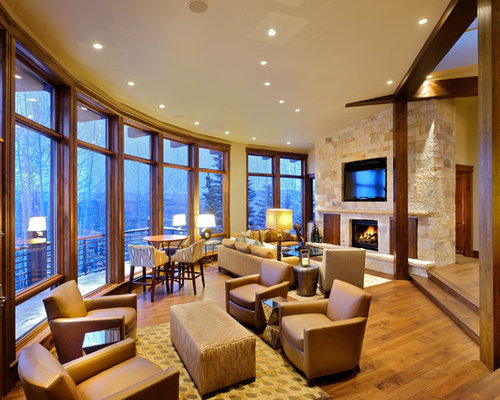 Furniture Grouping Eclectic Living Room Idea In Denver With Beige Walls A Standard Fireplace And Wall