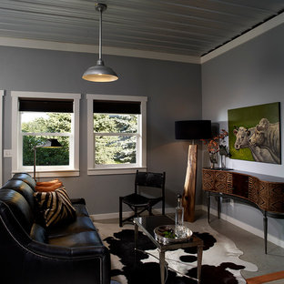 Example of a trendy living room design in Other with gray walls