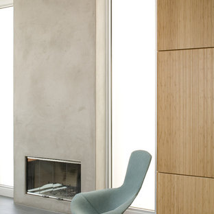 Example of a minimalist living room design in Los Angeles with a standard fireplace and a concrete fireplace