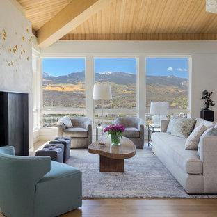 Trendy Open Concept Light Wood Floor Living Room Photo In Denver With Beige  Walls, A