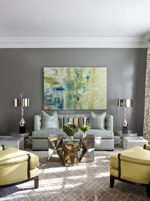 Inspiration For A Transitional Living Room Remodel In DC Metro With Gray Walls