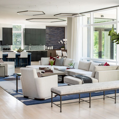 Inspiration for a contemporary formal and open concept light wood floor living room remodel in DC Metro with white walls