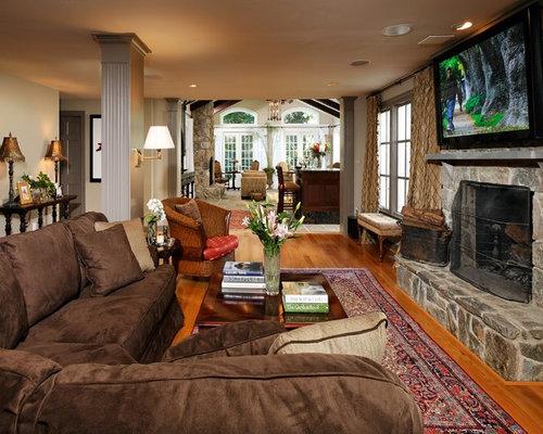 Cozy Cottage Living Room Blue White Home Interior Design Ideas