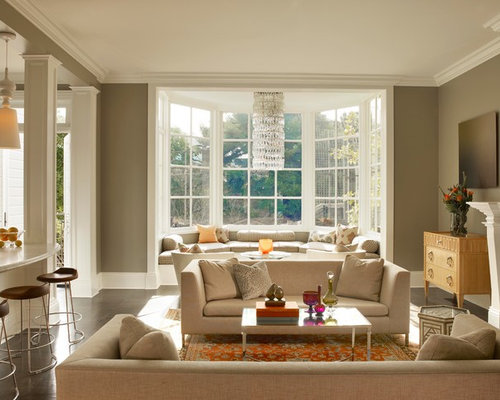 living room with bay window. Inspiration for an eclectic open concept living room remodel in San  Francisco with brown walls Living Room Bay Window Ideas Photos Houzz