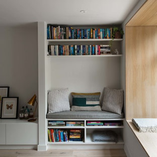 Living Room Library Small Modern Open Concept Light Wood Floor Idea In
