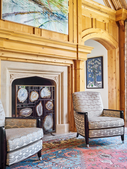 Example Of A Classic Living Room Design In Dallas With Standard Fireplace