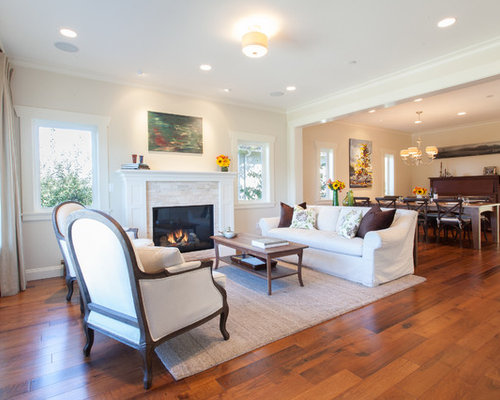 living room entryway. Transitional open concept medium tone wood floor living room photo in  Vancouver with beige walls and Entryway Open Living Room Houzz
