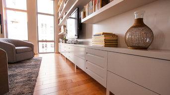 Media cabinet, display and floating bookshelves, Reston, VA