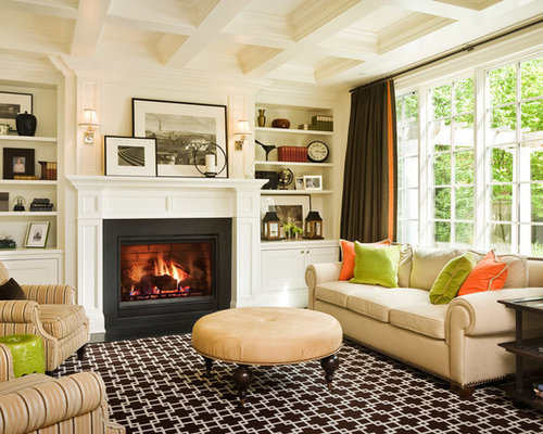 Inspiration For A Timeless Living Room Remodel In Seattle With White Walls,  A Standard Fireplace