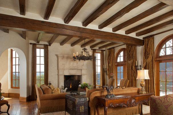 Mediterranean Living Room by John Malick & Associates