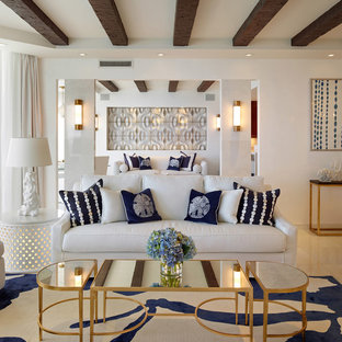 Living room - mid-sized transitional formal and open concept living room idea in New York with white walls