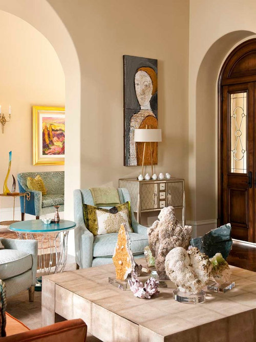 Example Of A Mid Sized Tuscan Living Room Design In Dallas With Beige Walls  And Part 30