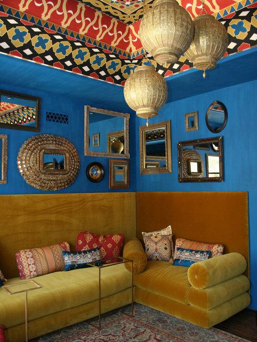 Mediterranes Wohnzimmer Mit Blauer Wandfarbe In Phoenix