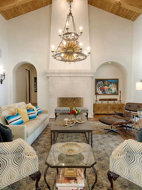 Example Of A Tuscan Open Concept Living Room Design In Austin With White Walls Medium