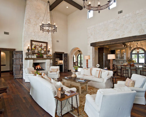 Santa barbara style waterfront home for W living room austin