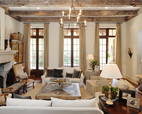 Inspiration For A Mediterranean Formal And Enclosed Medium Tone Wood Floor Living Room Remodel In Miami