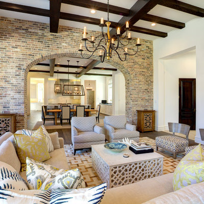 Living room - large mediterranean open concept dark wood floor and brown floor living room idea in Dallas with white walls and no fireplace