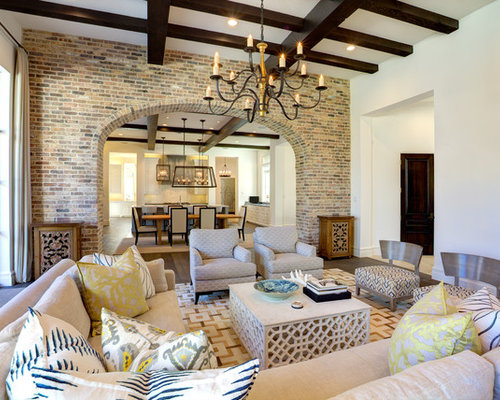 Large Mediterranean Open Concept Dark Wood Floor And Brown Family Room Idea In Dallas With