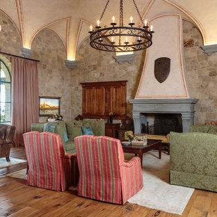 Living Room   Large Mediterranean Formal And Enclosed Medium Tone Wood  Floor And Brown Floor Living